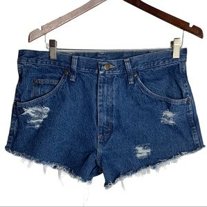 Wranglers Upcycled Distressed Jean Shorts W34